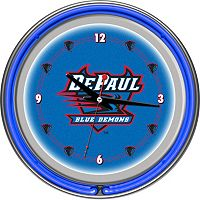 Depaul Blue Demons Chrome Double-Ring Neon Wall Clock