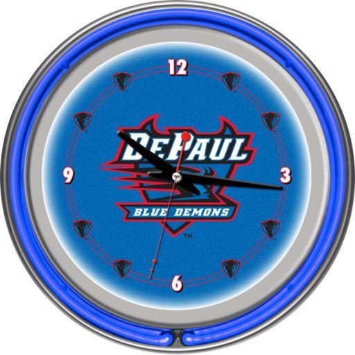 Depaul Blue Demons Chrome Double-Ring Neon Wall Clock