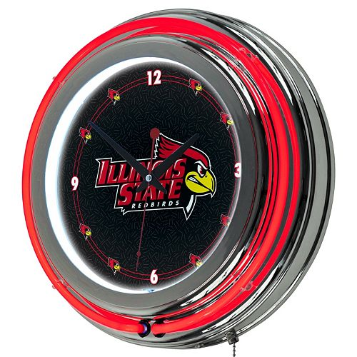 Illinois State Redbirds Chrome Double-Ring Neon Wall Clock
