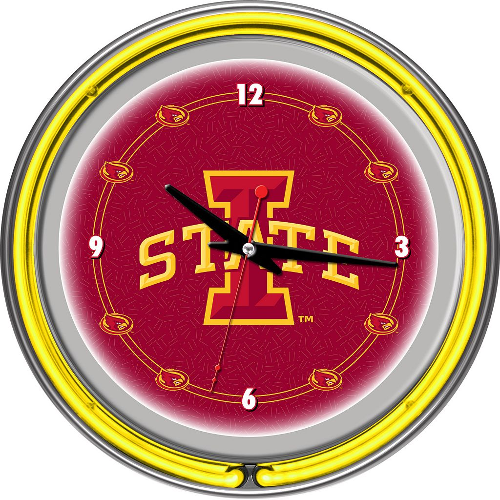 Iowa State Cyclones Chrome Double-Ring Neon Wall Clock