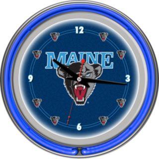 Maine Black Bears Chrome Double-Ring Neon Wall Clock