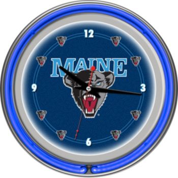 Maine Black Bears Chrome Double-Ring Neon Wall Clock