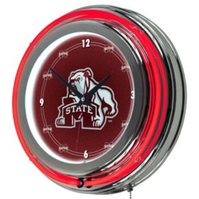 Mississippi State Bulldogs Chrome Double-Ring Neon Wall Clock