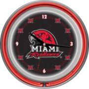 Miami RedHawks Chrome Double-Ring Neon Wall Clock