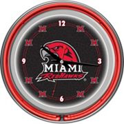 Miami RedHawks Chrome Double-Ring Neon Wall Clock