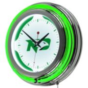 North Dakota Chrome Double-Ring Neon Wall Clock