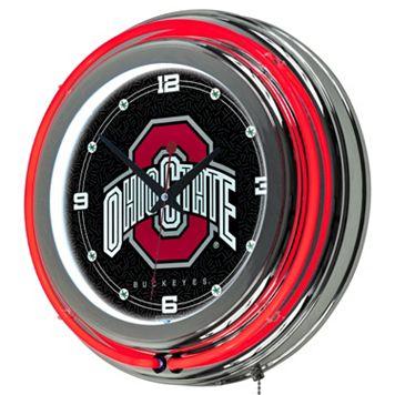 Ohio State Buckeyes Chrome Double-Ring Neon Wall Clock