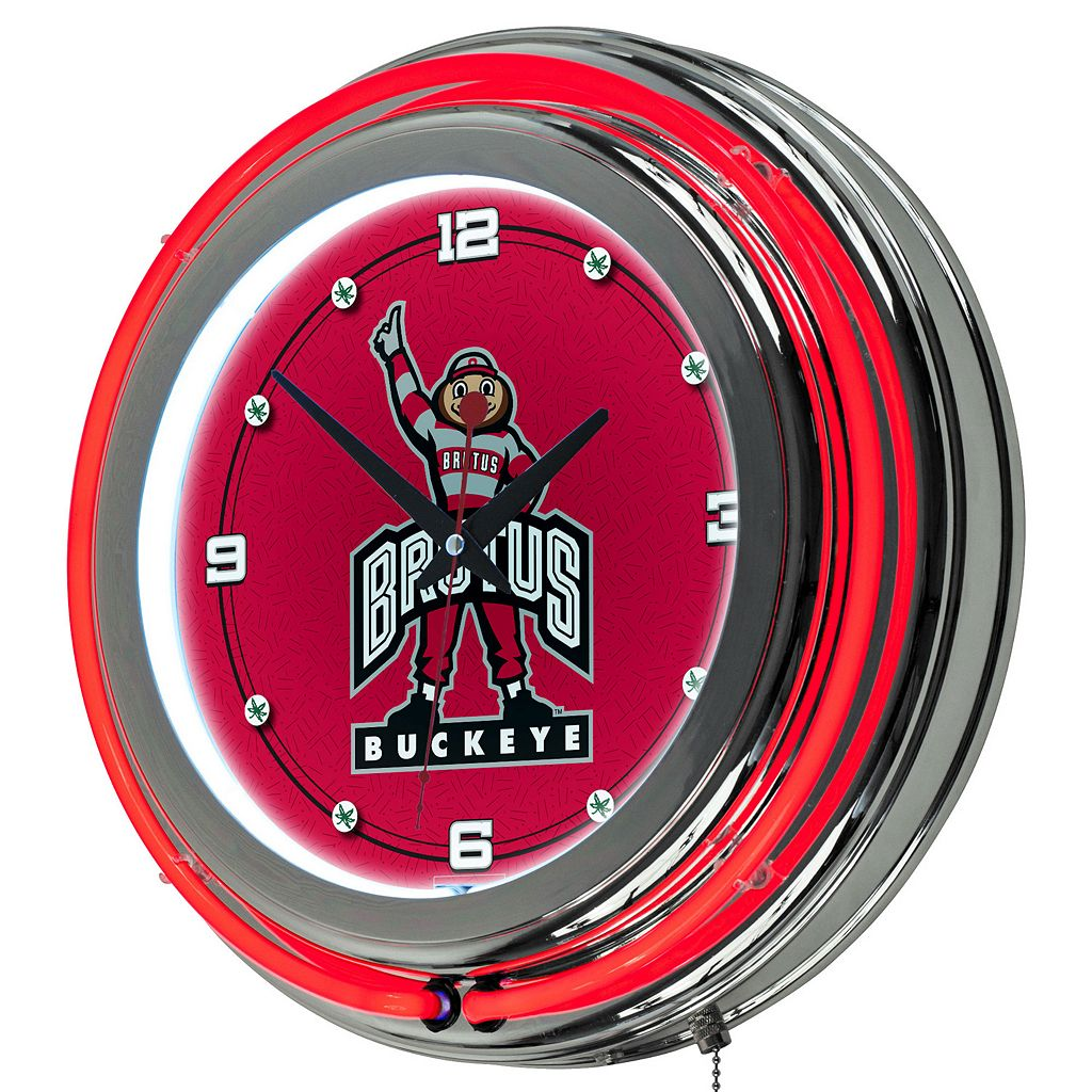 Ohio State Buckeyes Chrome Double-Ring Neon Wall Clock