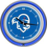 Seton Hall Pirates Chrome Double-Ring Neon Wall Clock