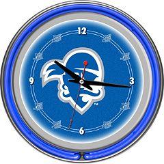 Seton Hall Pirates Chrome Double-Ring Neon Wall Clock