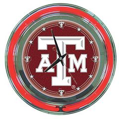 Texas A&M Aggies Chrome Double-Ring Neon Wall Clock