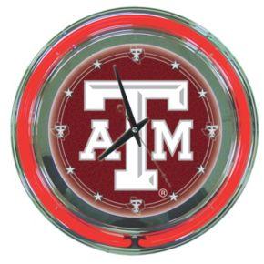 Texas AandM Aggies Chrome Double-Ring Neon Wall Clock