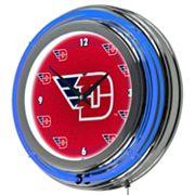 Dayton Flyers Chrome Double-Ring Neon Wall Clock