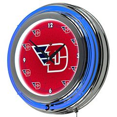 Dayton Flyers Chrome Double-Ring Neon Wall Clock