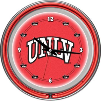 UNLV Rebels Chrome Double-Ring Neon Wall Clock