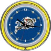 Navy Midshipmen Chrome Double-Ring Neon Wall Clock