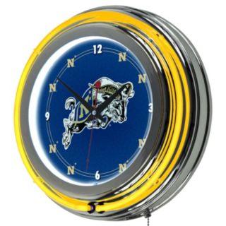 Navy Midshipmen Chrome Double-Ring Neon Wall Clock