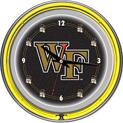 Wake Forest Demon Deacons Chrome Double-Ring Neon Wall Clock