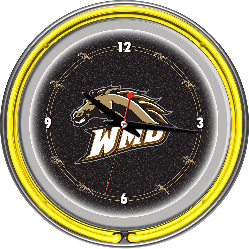 Western Michigan Broncos Chrome Double-Ring Neon Wall Clock