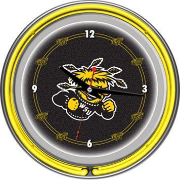 Wichita State Shockers Chrome Double-Ring Neon Wall Clock