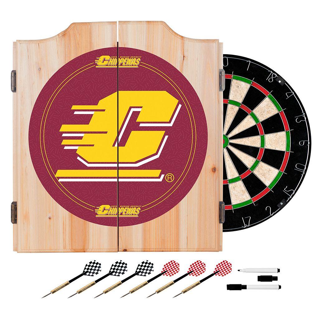 Central Michigan Chippewas Wood Dart Cabinet Set
