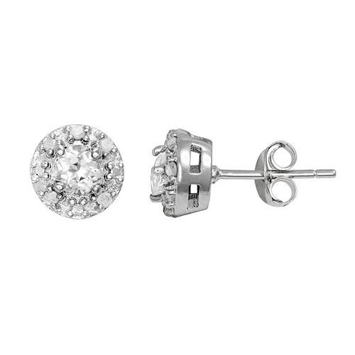 Sterling Silver White Topaz & 1/10-ct. T.W. Diamond Halo Stud Earrings