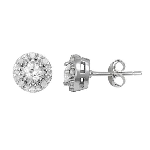 Sterling Silver White Topaz and 1/10-ct. T.W. Diamond Halo Stud Earrings