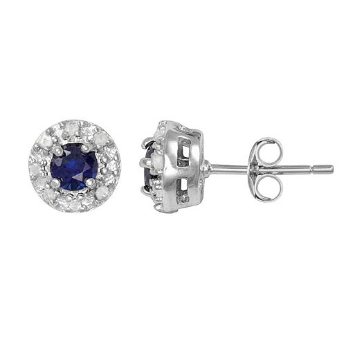 Sterling Silver Lab-Created Sapphire & 1/10-ct. T.W. Diamond Halo Stud Earrings