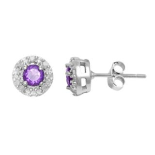 Sterling Silver Amethyst and 1/10-ct. T.W. Diamond Halo Stud Earrings