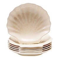 Certified International Coastal Moonlight by Pela Studio 6 pc Melamine Shell Plate Set