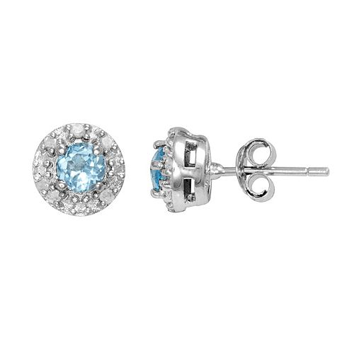 Sterling Silver Lab-Created Blue Topaz & 1/10-ct. T.W. Diamond Halo Stud Earrings