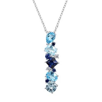 Sterling Silver Lab-Created Sapphire & Blue Topaz Linear Pendant