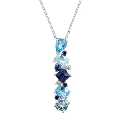 Sterling Silver Lab-Created Sapphire and Blue Topaz Linear Pendant