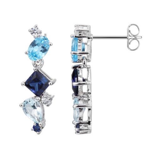 Sterling Silver Lab-Created Sapphire and Blue Topaz Linear Drop Earrings