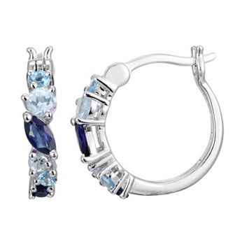 Sterling Silver Lab-Created Sapphire & Blue Topaz Hoop Earrings