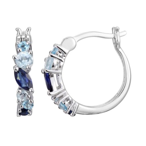 Sterling Silver Lab-Created Sapphire and Blue Topaz Hoop Earrings