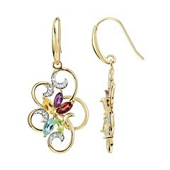 18k Gold Over Silver Gemstone & Diamond Accent Scrollwork Drop Earrings