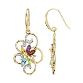18k Gold Over Silver Gemstone and Diamond Accent Scrollwork Drop Earrings