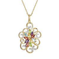 18k Gold Over Silver Gemstone & Diamond Accent Scrollwork Pendant
