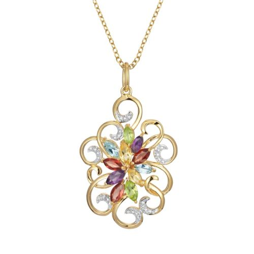 18k Gold Over Silver Gemstone and Diamond Accent Scrollwork Pendant