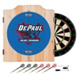 DePaul Blue Demons Wood Dart Cabinet Set