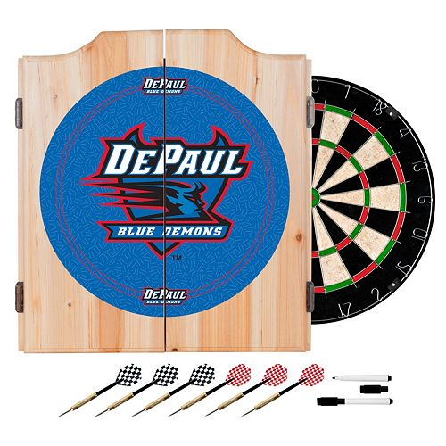 DePaul Blue Demons Wood Dart Cabinet Set