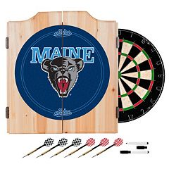 Maine Black Bears Wood Dart Cabinet Set
