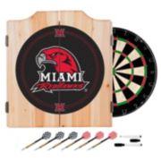 Miami RedHawks Wood Dart Cabinet Set