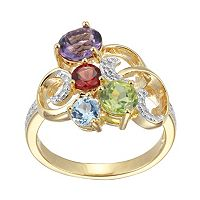18k Gold Over Silver Gemstone & Diamond Accent Scrollwork Ring