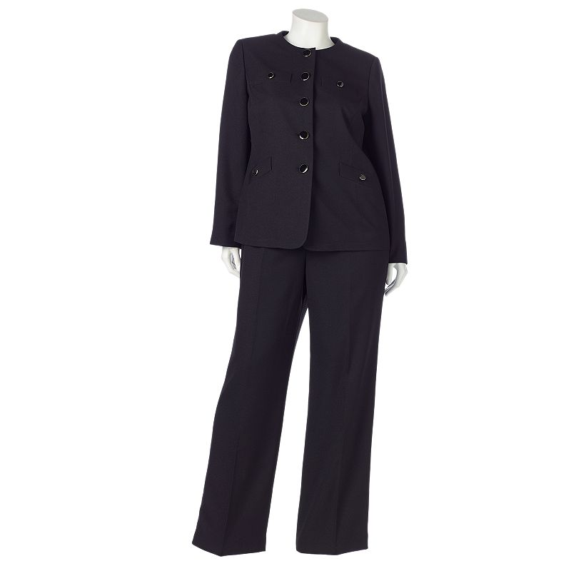 Gloria Vanderbilt Crepe Suit Jacket & Pants Set - Women's Plus Size