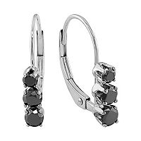 14k White Gold 1/2-ct. T.W. Black Diamond 3-Stone Drop Earrings