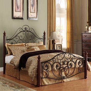 HomeVance Malia Scrollwork Poster Bed - Full
