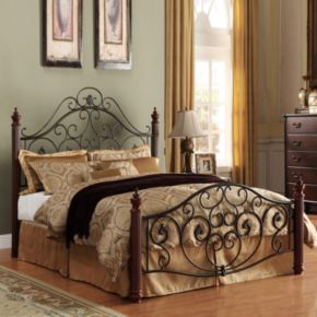 HomeVance Malia Scrollwork Poster Bed - Queen