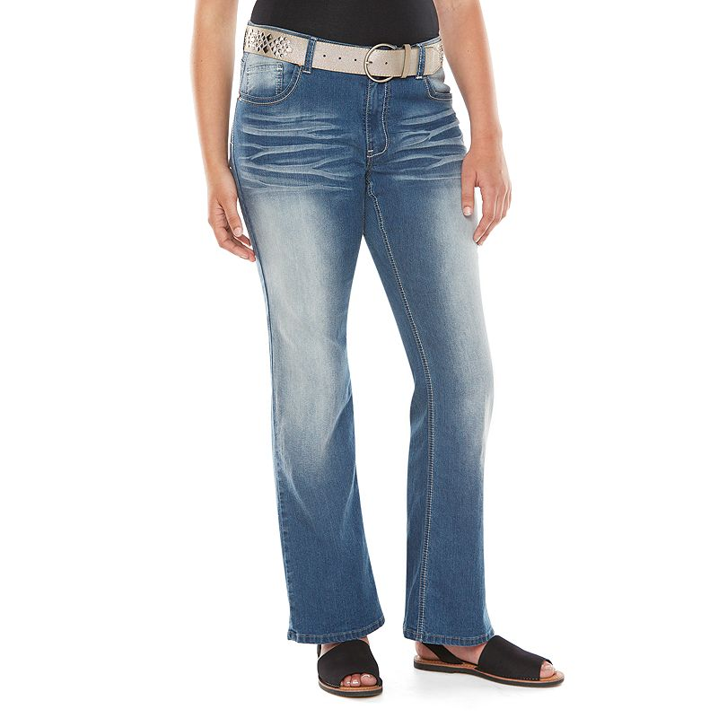 Angels Faded Bootcut Jeans - Juniors' Plus